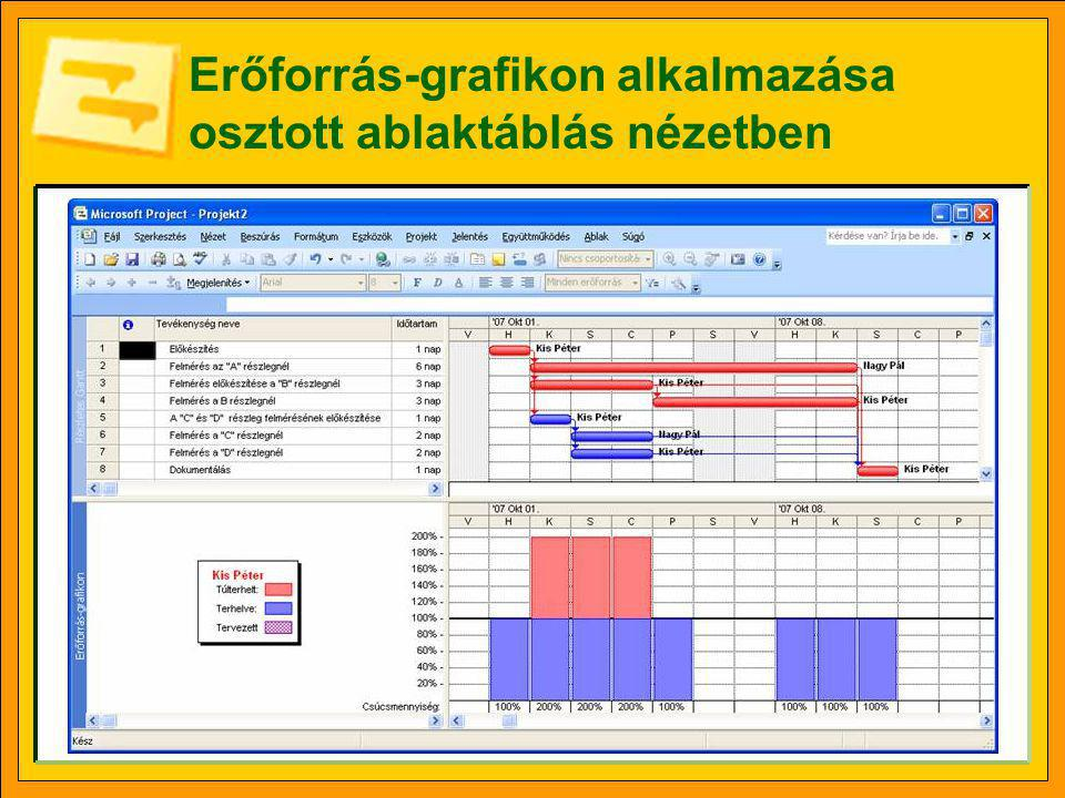 Erőforrás-grafikon alkalmazása osztott ablaktáblás nézetben