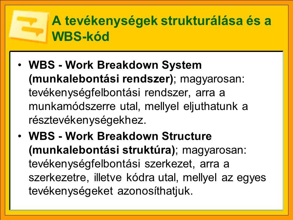 A tevékenységek strukturálása és a WBS-kód