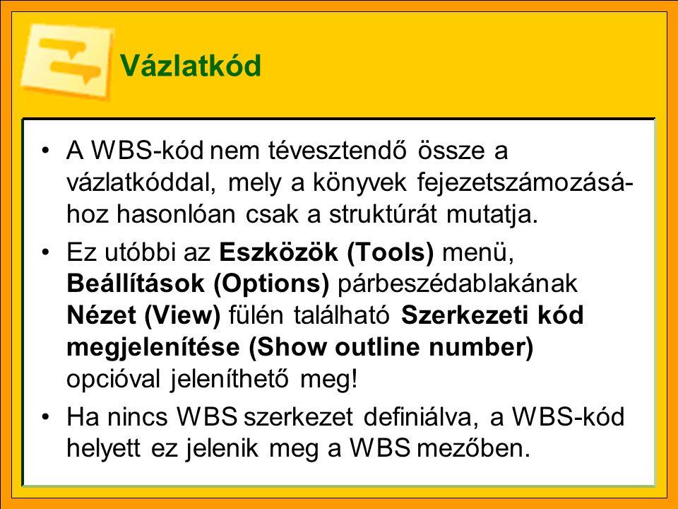 Vázlatkód A WBS-kód nem tévesztendő össze a vázlatkóddal, mely a könyvek fejezetszámozásá-hoz hasonlóan csak a struktúrát mutatja.