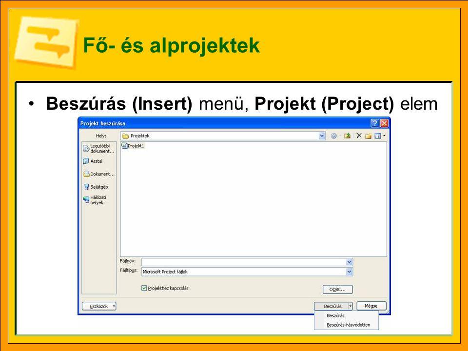 Fő- és alprojektek Beszúrás (Insert) menü, Projekt (Project) elem