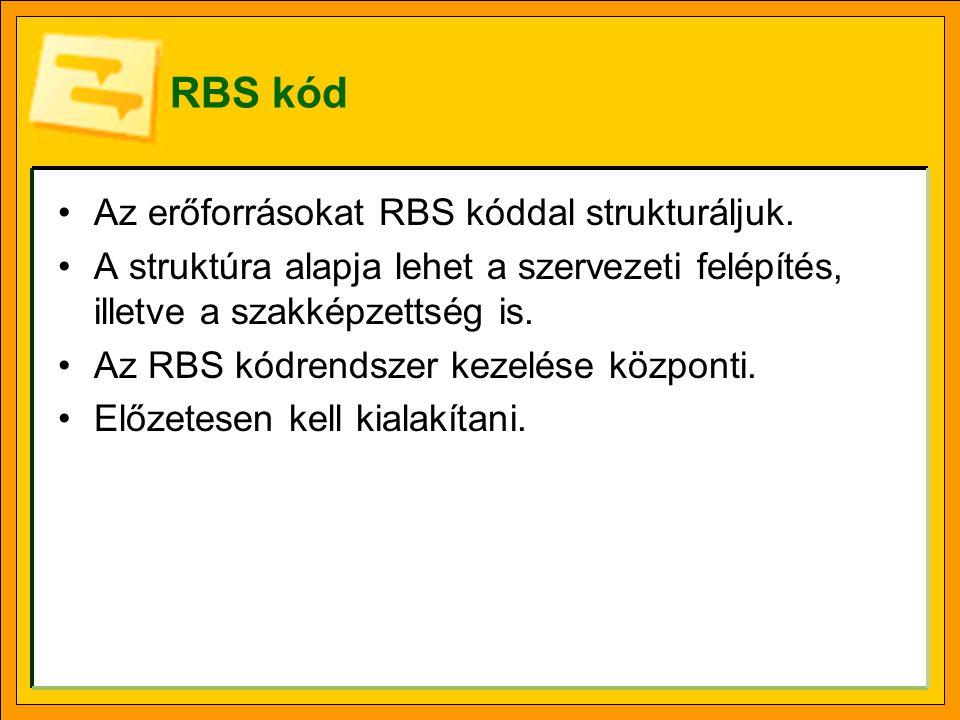 RBS kód Az erőforrásokat RBS kóddal strukturáljuk.