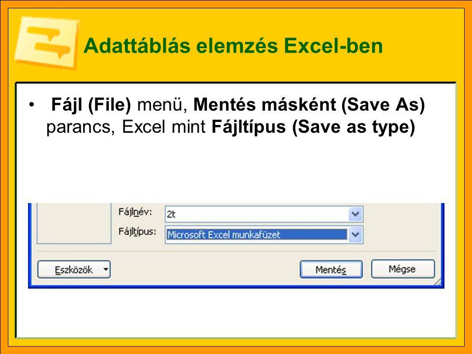 Adattáblás elemzés Excel-ben
