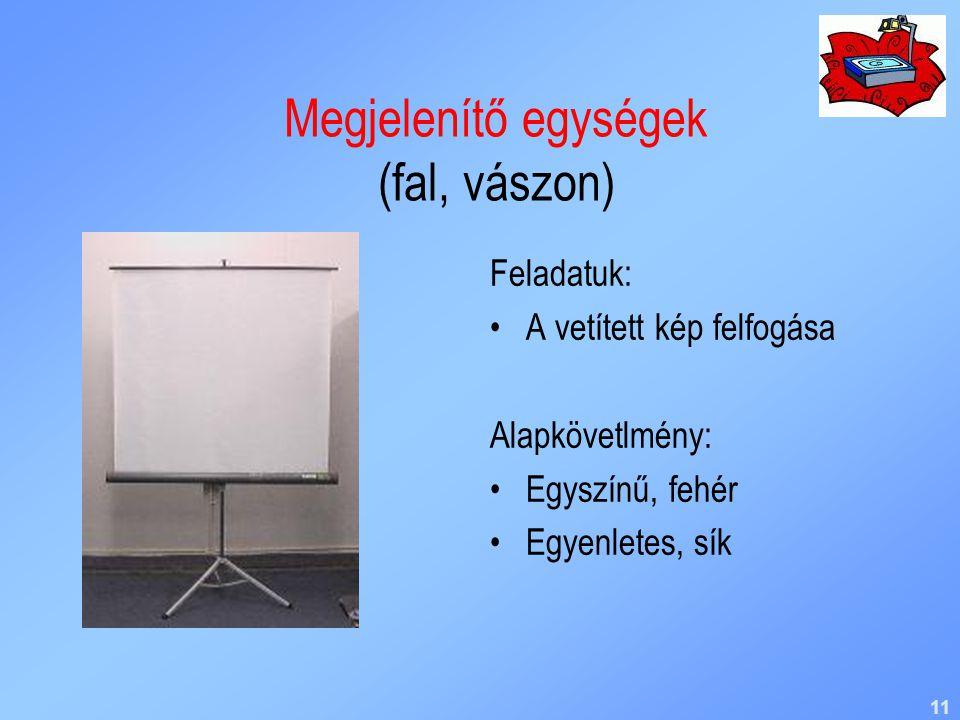 Megjelenítő egységek (fal, vászon)