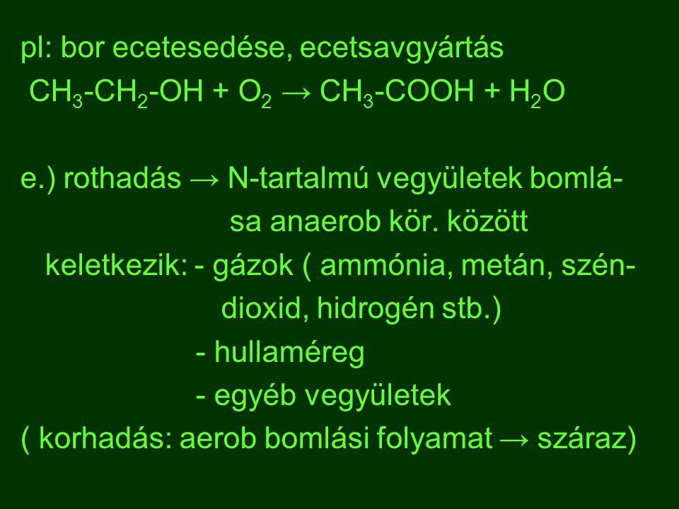 pl: bor ecetesedése, ecetsavgyártás