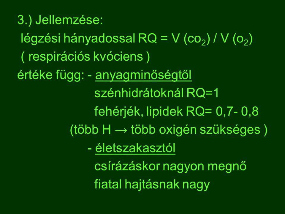3.) Jellemzése: légzési hányadossal RQ = V (co2) / V (o2) ( respirációs kvóciens ) értéke függ: - anyagminőségtől.
