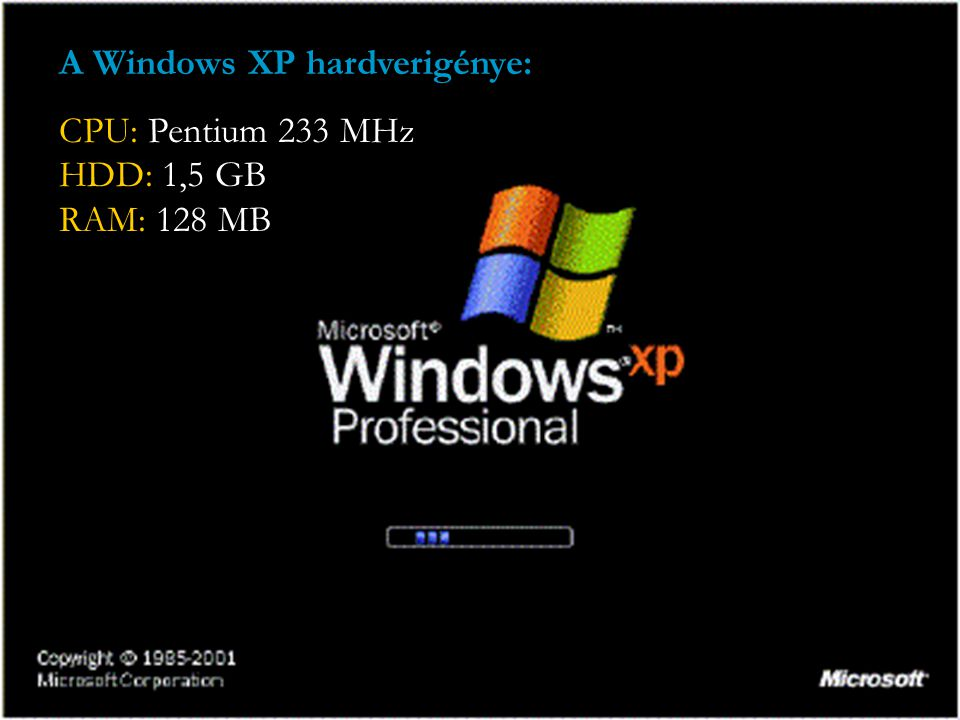 A Windows XP hardverigénye: