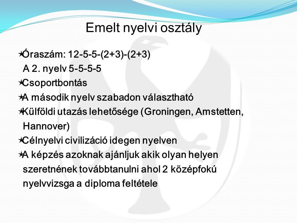 Emelt nyelvi osztály Óraszám: 12-5-5-(2+3)-(2+3) A 2. nyelv 5-5-5-5