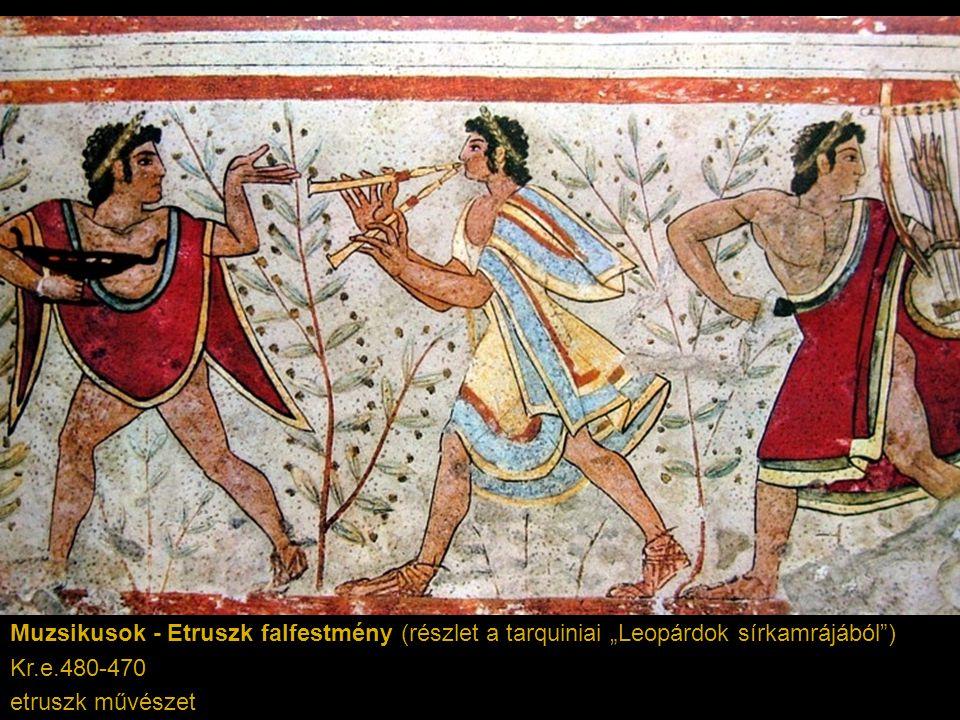 """Muzsikusok - Etruszk falfestmény (részlet a tarquiniai """"Leopárdok sírkamrájából )"""