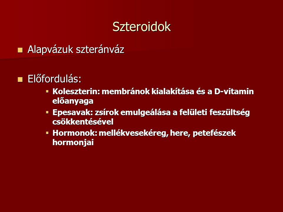 Szteroidok Alapvázuk szteránváz Előfordulás: