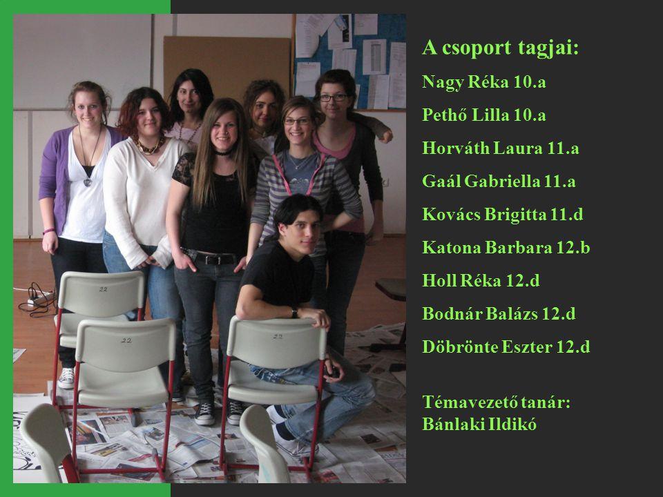 A csoport tagjai: Nagy Réka 10.a Pethő Lilla 10.a Horváth Laura 11.a