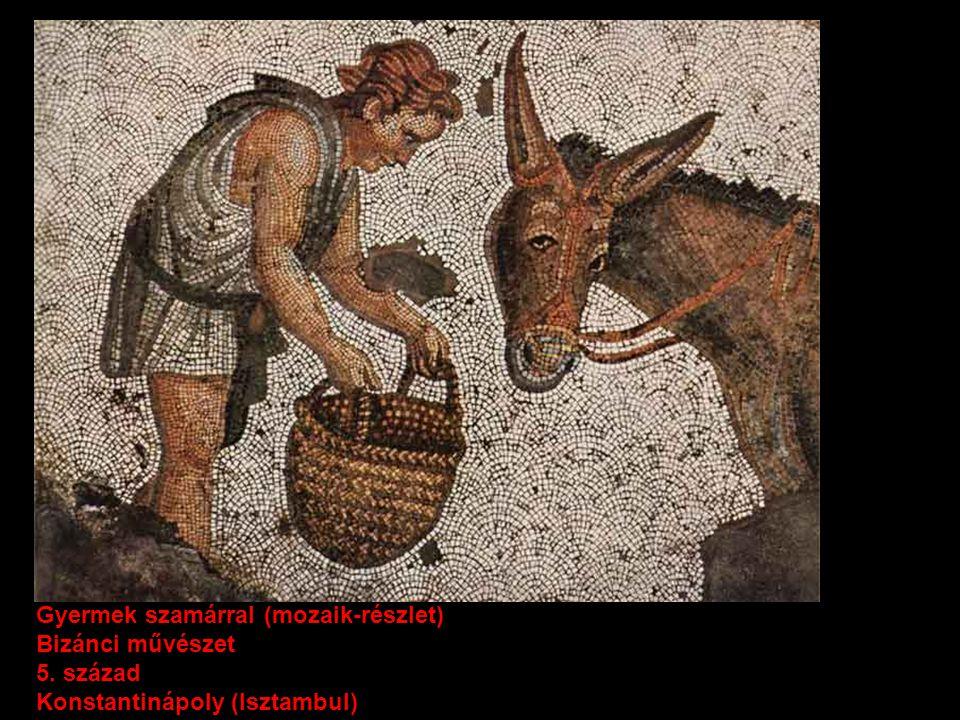 Gyermek szamárral (mozaik-részlet)