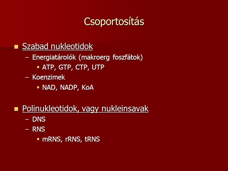 Csoportosítás Szabad nukleotidok Polinukleotidok, vagy nukleinsavak