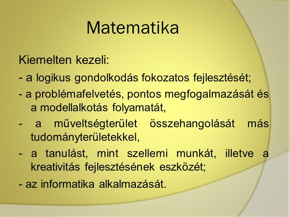 Matematika Kiemelten kezeli:
