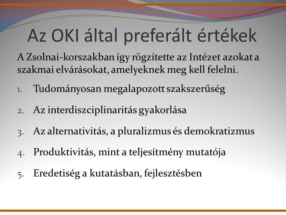 Az OKI által preferált értékek