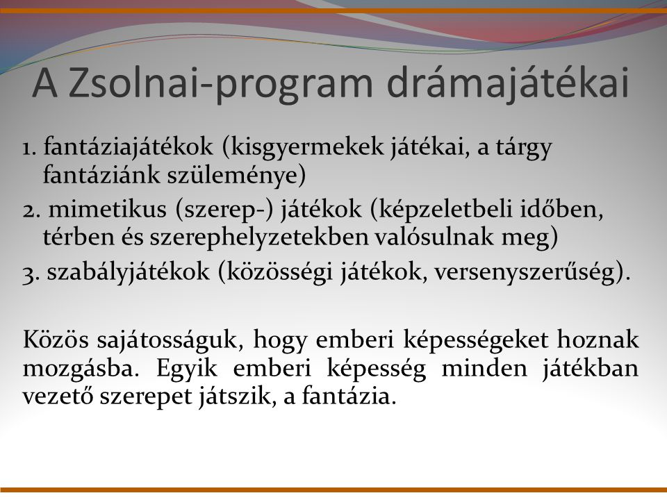 A Zsolnai-program drámajátékai