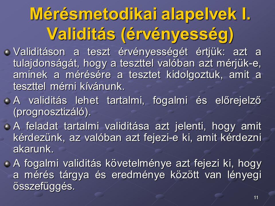 Mérésmetodikai alapelvek I. Validitás (érvényesség)
