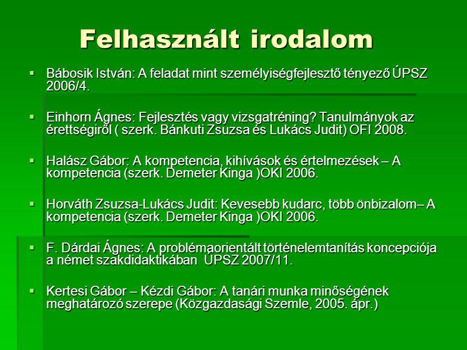 Felhasznált irodalom Bábosik István: A feladat mint személyiségfejlesztő tényező ÚPSZ 2006/4.
