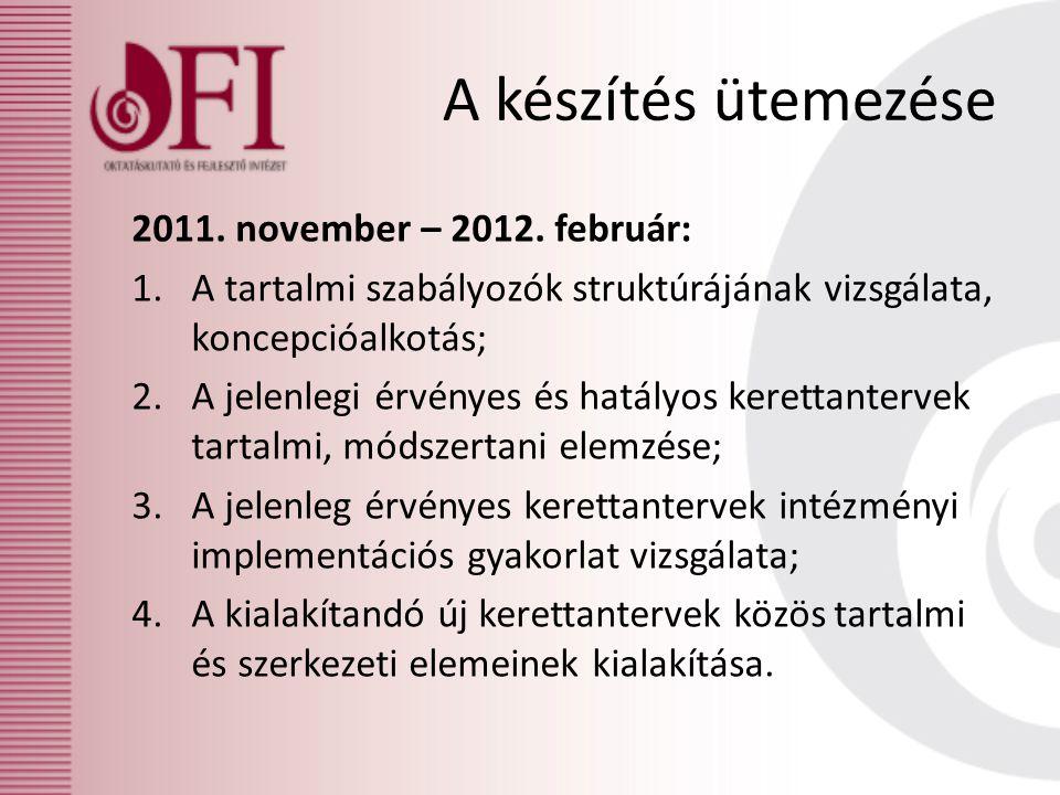 A készítés ütemezése 2011. november – 2012. február:
