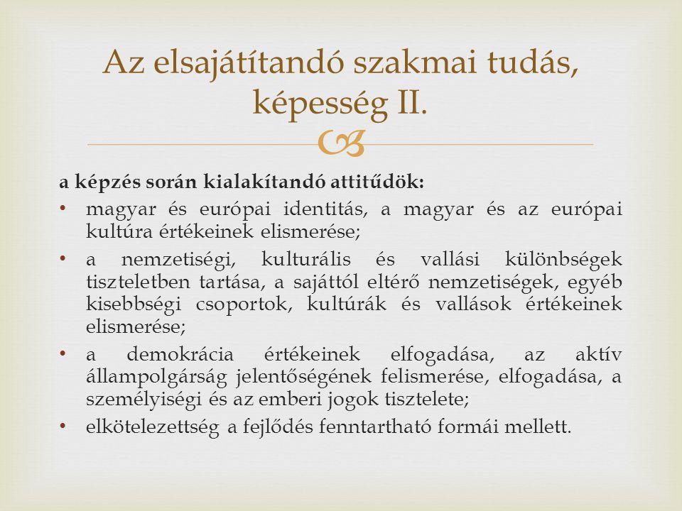 Az elsajátítandó szakmai tudás, képesség II.