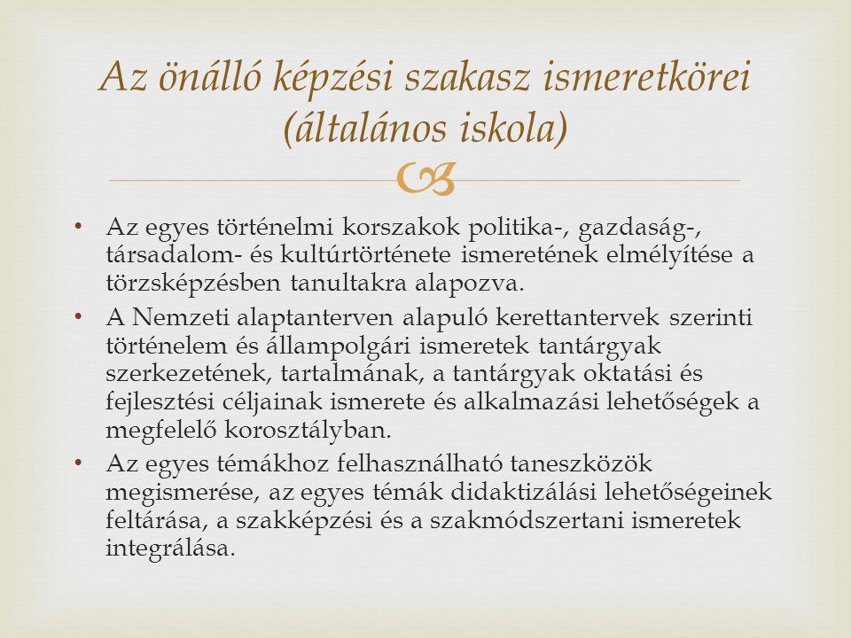 Az önálló képzési szakasz ismeretkörei (általános iskola)