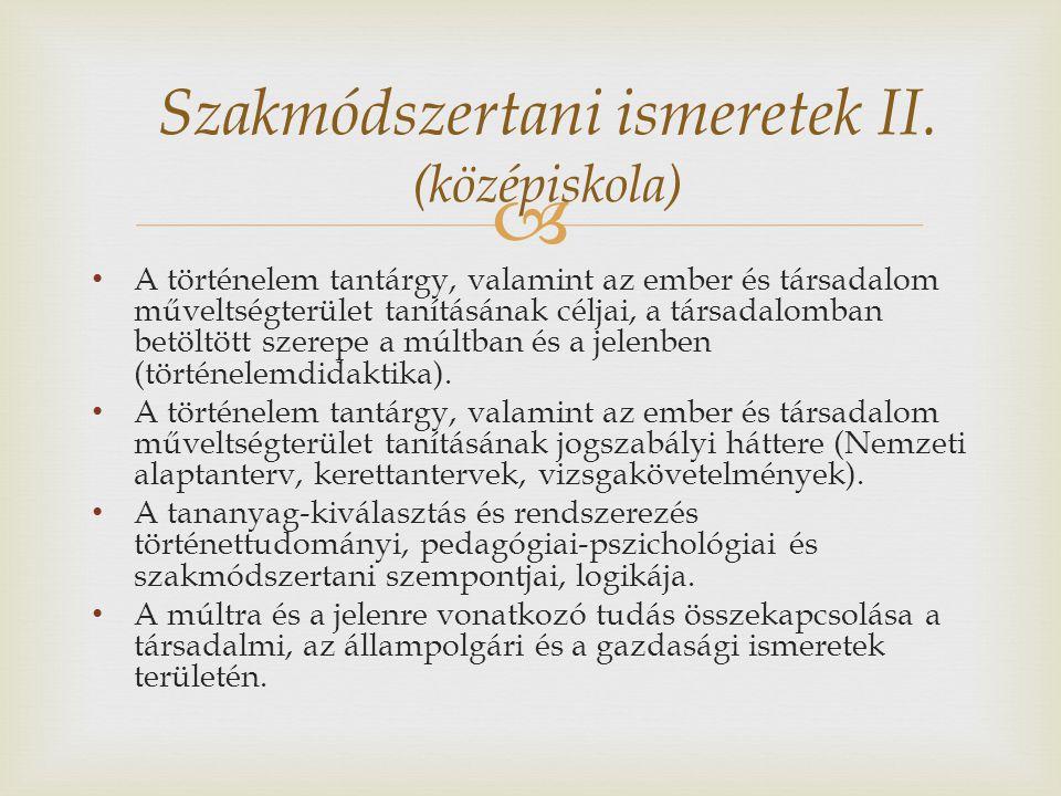 Szakmódszertani ismeretek II. (középiskola)