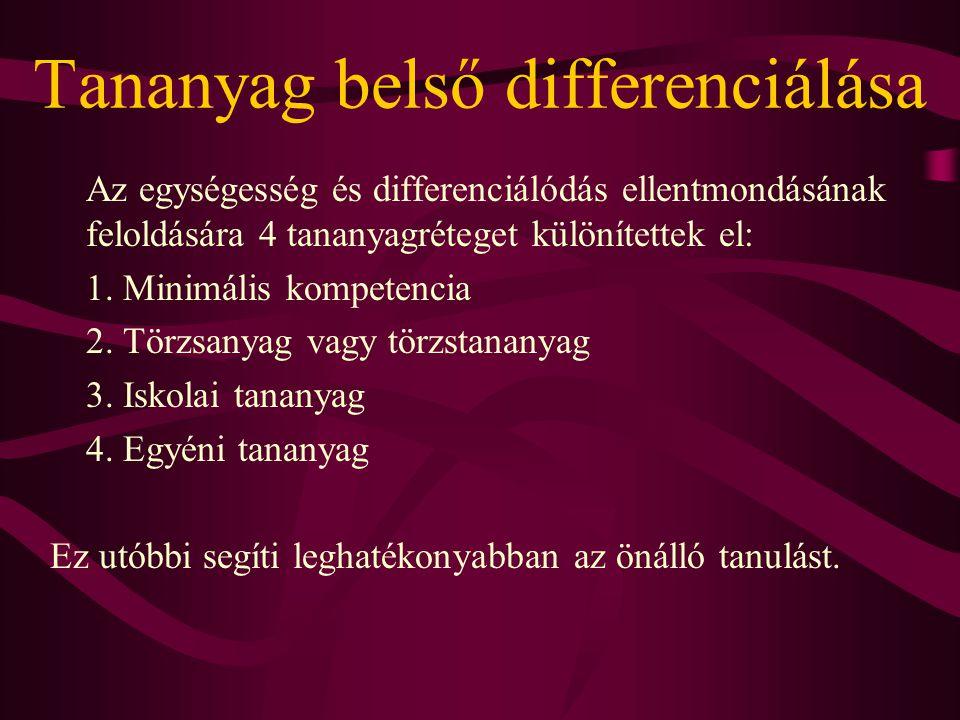 Tananyag belső differenciálása