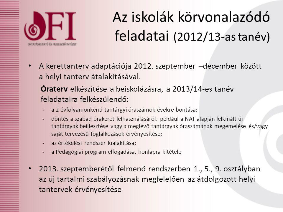 Az iskolák körvonalazódó feladatai (2012/13-as tanév)