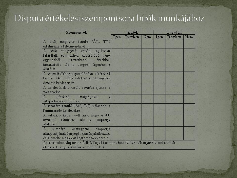 Disputa értékelési szempontsor a bírók munkájához