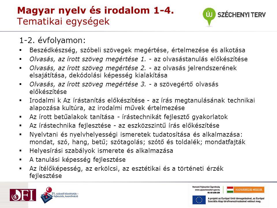 Magyar nyelv és irodalom 1-4. Tematikai egységek