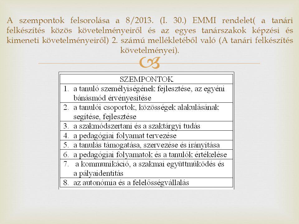 A szempontok felsorolása a 8/2013. (I. 30