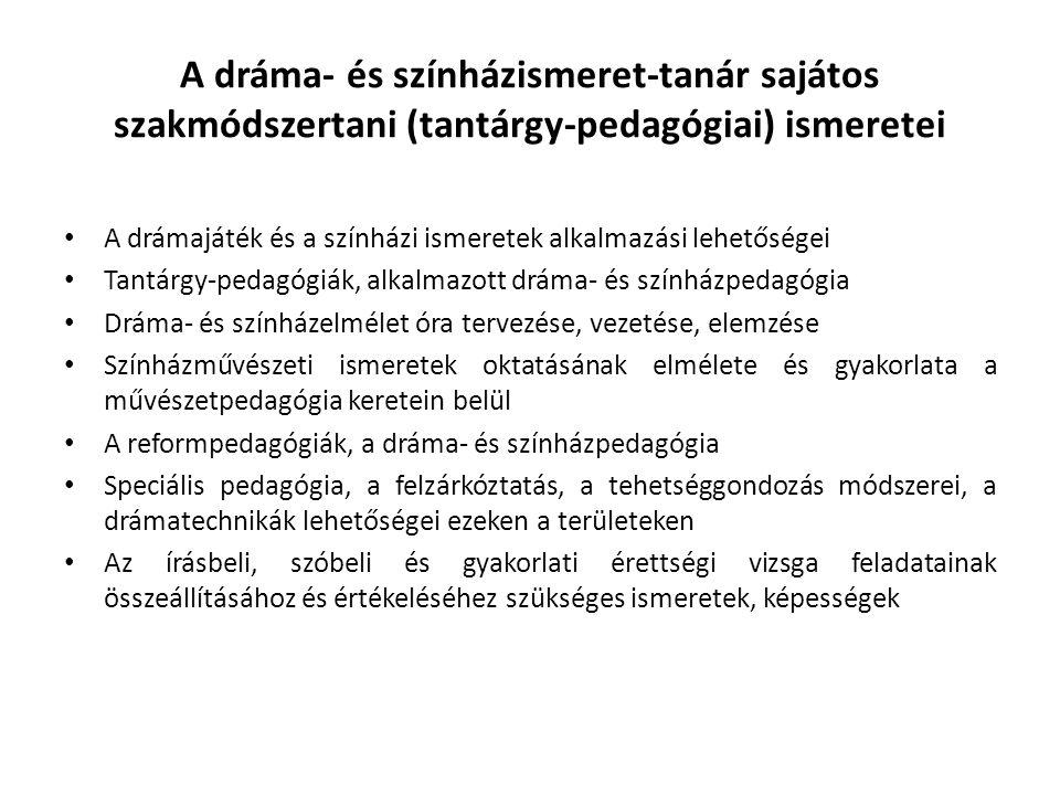 A dráma- és színházismeret-tanár sajátos szakmódszertani (tantárgy-pedagógiai) ismeretei
