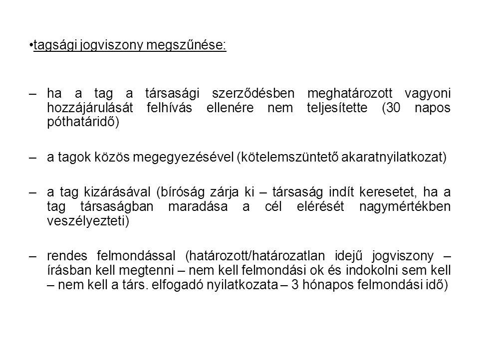tagsági jogviszony megszűnése:
