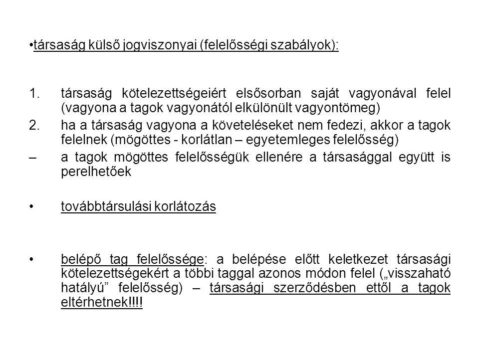 társaság külső jogviszonyai (felelősségi szabályok):