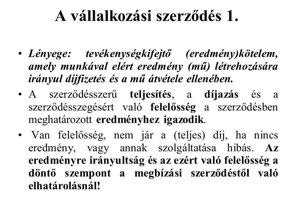 A vállalkozási szerződés 1.