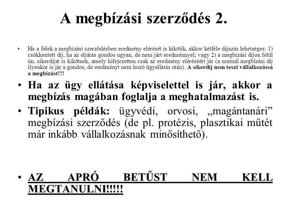 A megbízási szerződés 2.