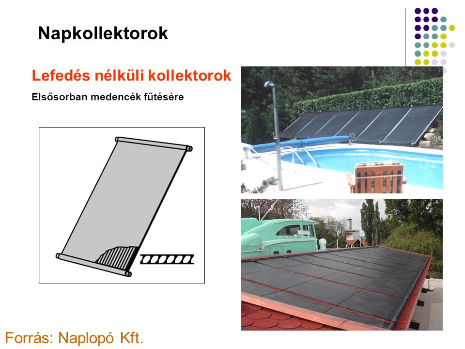 Napkollektorok Lefedés nélküli kollektorok Forrás: Naplopó Kft.