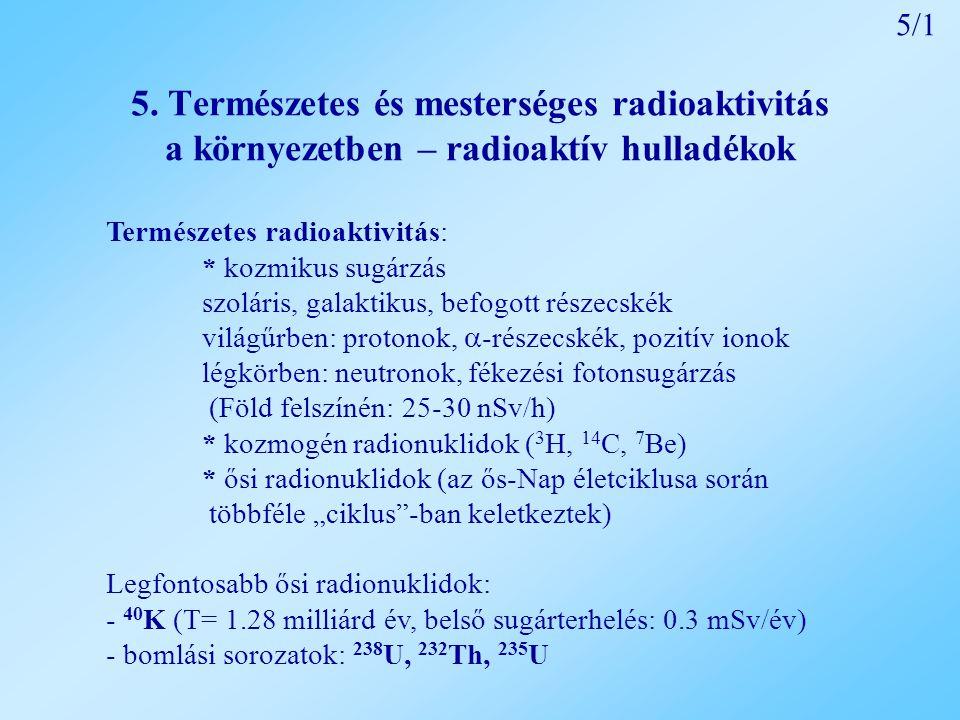 5/1 5. Természetes és mesterséges radioaktivitás a környezetben – radioaktív hulladékok. Természetes radioaktivitás: