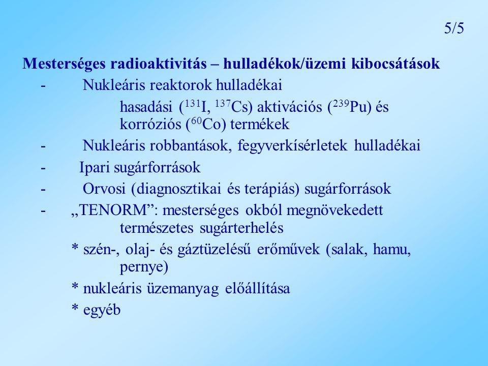 5/5 Mesterséges radioaktivitás – hulladékok/üzemi kibocsátások. - Nukleáris reaktorok hulladékai.