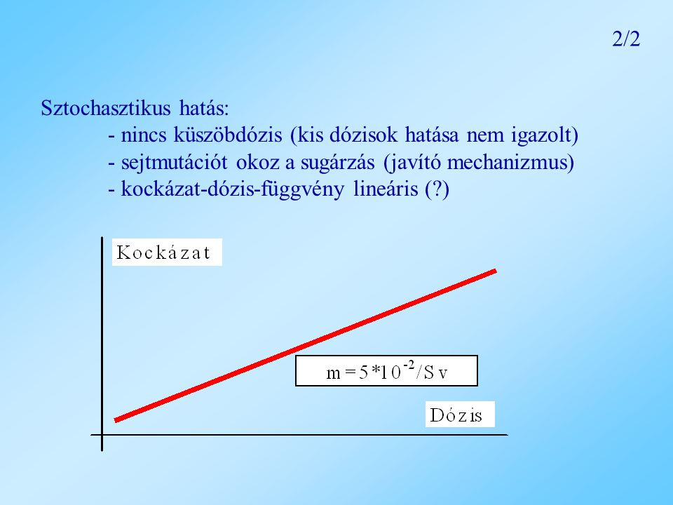2/2 Sztochasztikus hatás: - nincs küszöbdózis (kis dózisok hatása nem igazolt) - sejtmutációt okoz a sugárzás (javító mechanizmus)