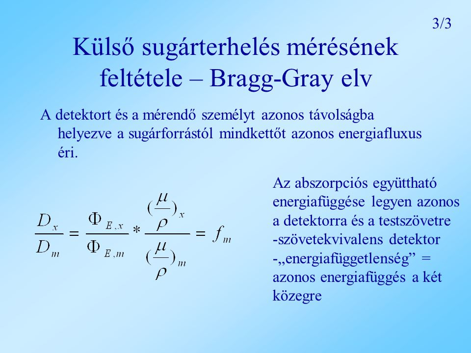 Külső sugárterhelés mérésének feltétele – Bragg-Gray elv