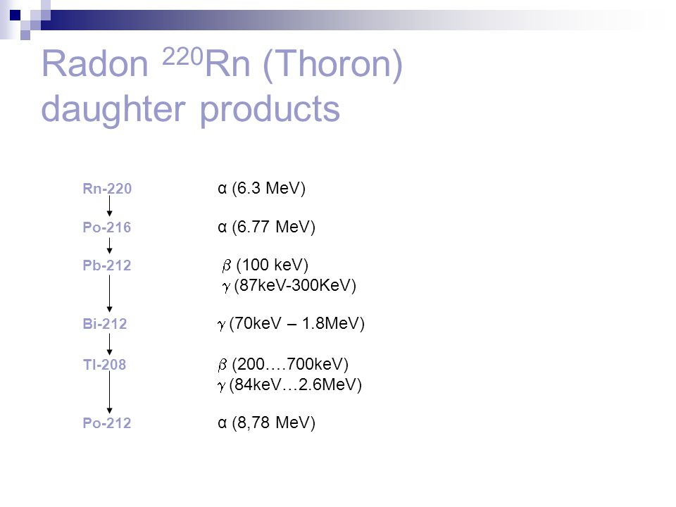 Radon 220Rn (Thoron) daughter products