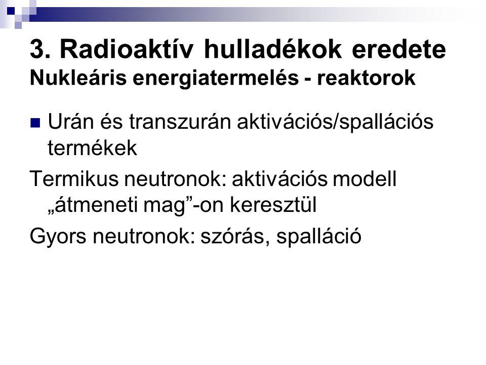 3. Radioaktív hulladékok eredete Nukleáris energiatermelés - reaktorok