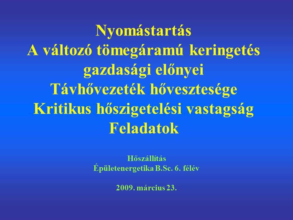 Hőszállítás Épületenergetika B.Sc. 6. félév 2009. március 23.
