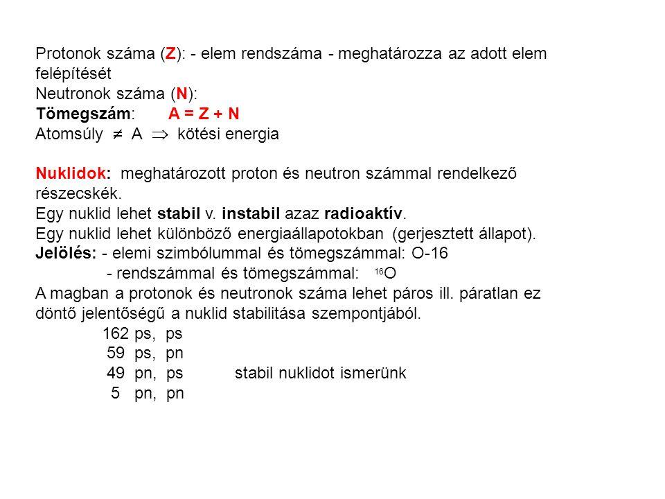 Protonok száma (Z): - elem rendszáma - meghatározza az adott elem felépítését