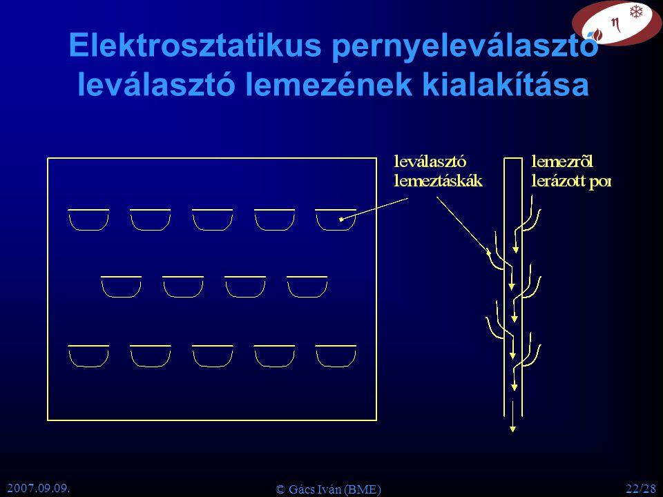 Elektrosztatikus pernyeleválasztó leválasztó lemezének kialakítása