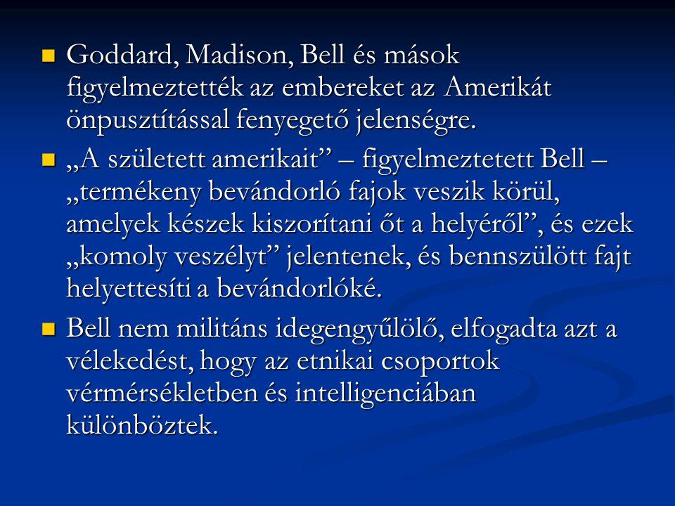 Goddard, Madison, Bell és mások figyelmeztették az embereket az Amerikát önpusztítással fenyegető jelenségre.