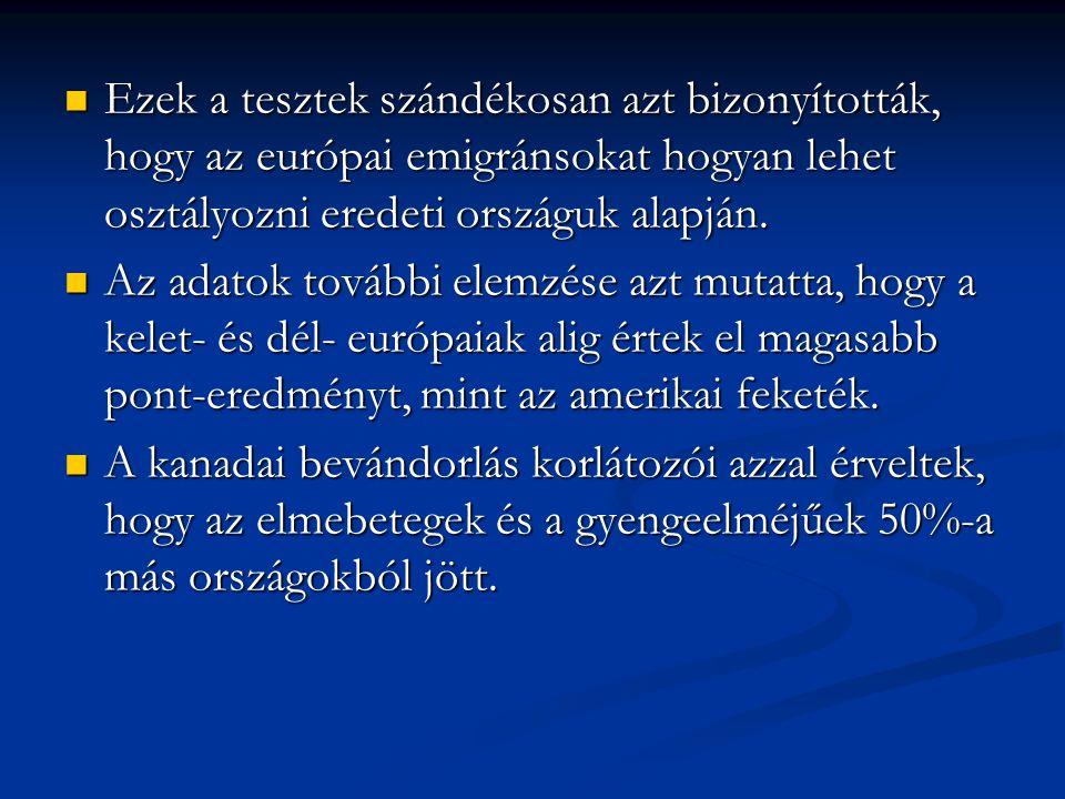 Ezek a tesztek szándékosan azt bizonyították, hogy az európai emigránsokat hogyan lehet osztályozni eredeti országuk alapján.