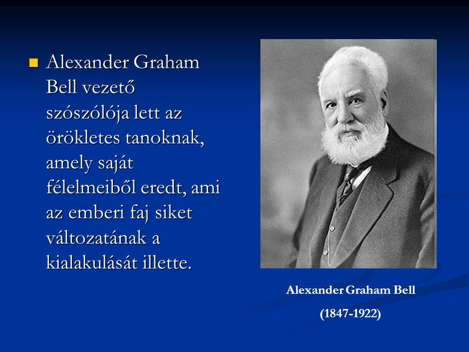 Alexander Graham Bell vezető szószólója lett az örökletes tanoknak, amely saját félelmeiből eredt, ami az emberi faj siket változatának a kialakulását illette.