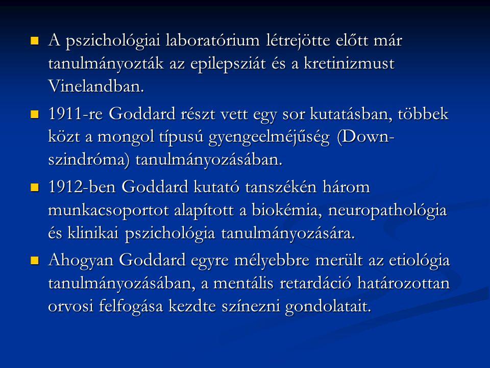 A pszichológiai laboratórium létrejötte előtt már tanulmányozták az epilepsziát és a kretinizmust Vinelandban.