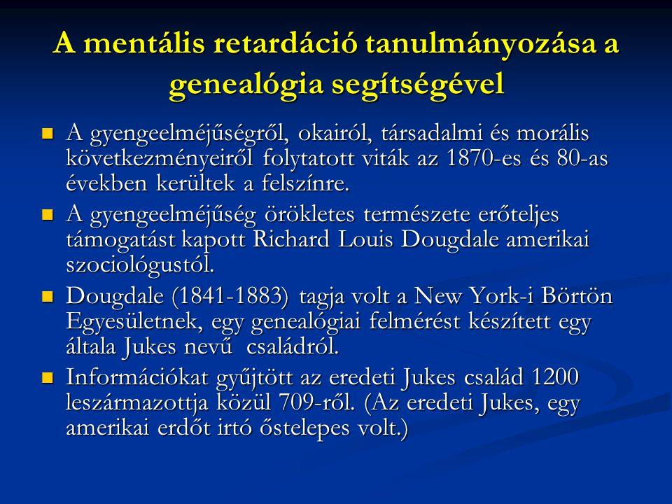 A mentális retardáció tanulmányozása a genealógia segítségével